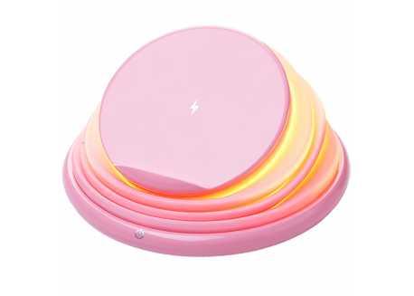 Bezdrátová nabíječka lampa polohovatelná, růžová