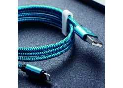 Micro USB kabel 3m modrý textilní