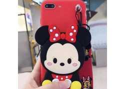 Pouzdro Symfony pro Xiaomi Redmi 8A, silikon Minnie s peněženkou a šňůrkou na krk