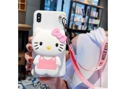 Pouzdro Symfony pro Xiaomi Mi A3, silikon Kitty s peněženkou a šňůrkou na krk