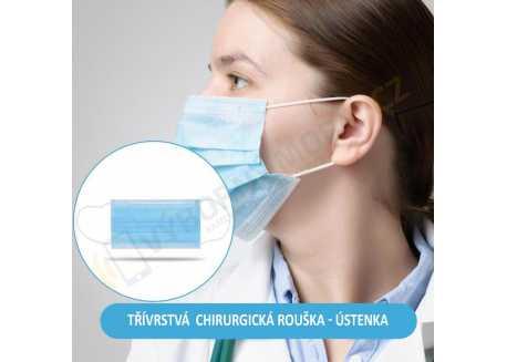 Maska - chirurgická rouška ústenka, 3 vrstvy