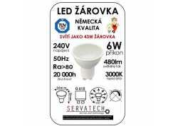 LED žárovka 6W / 43W 240V GU10 480lm 120° 20.000h teplá bílá