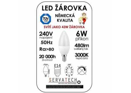 Symfony LED žárovka svíčka C30 6W / 43W 240V E14 480lm 270° 20.000h teplá bílá