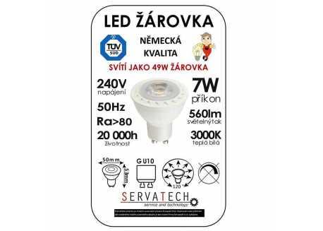 Symfony LED žárovka reflektor/bodovka 7W / 49W 240V GU10 560lm 120° 20.000h teplá bílá