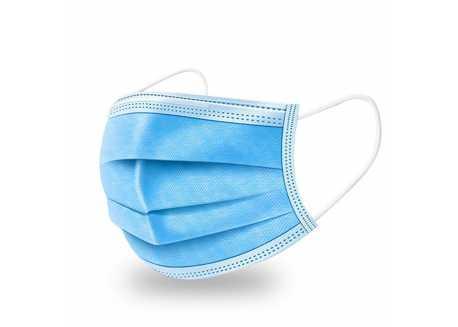 Maska - chirurgická rouška ústenka, 3 vrstvy, modrá - 50 ks